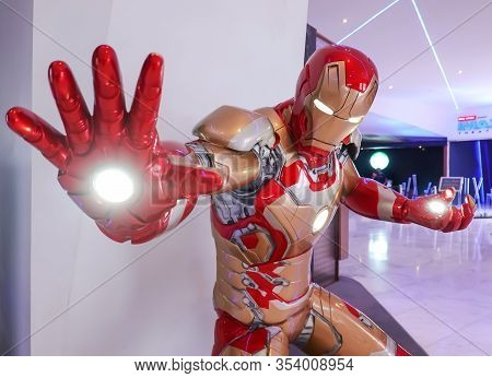 Bangkok, Thailand - June 20, 2019: Iron Man Model Show In Avengers Endgame Exhibition Booth At Emqua