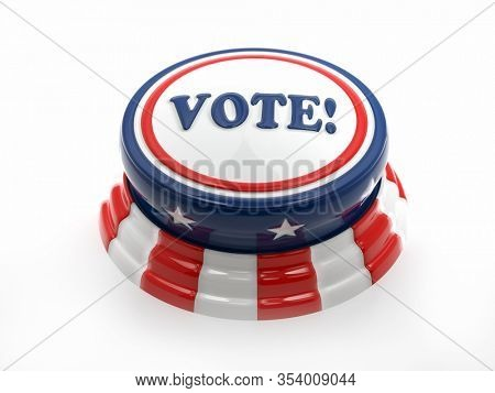 3D rendering of Voting pushbutton with American flag colors on white
