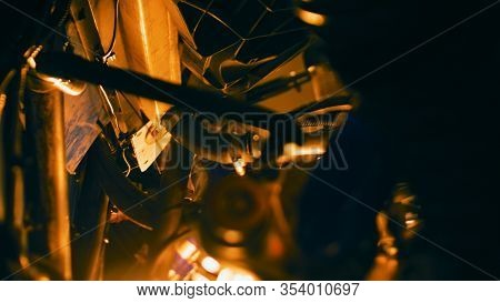 Pipes And Parts On Background Of Light. Stock Footage. Close-up Inside Mechanism Lot Of Intricate Pi