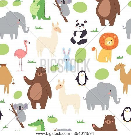 African Jungle Animals Seamless Pattern For Cute Baby Textile, Wrapping Or Bedroom Vector Illustrati