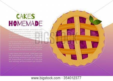 Homemade Berries Pies And Cakes Sweet Baking Dessert Vector Illustration Pie Tart. Cartoon Berry Che