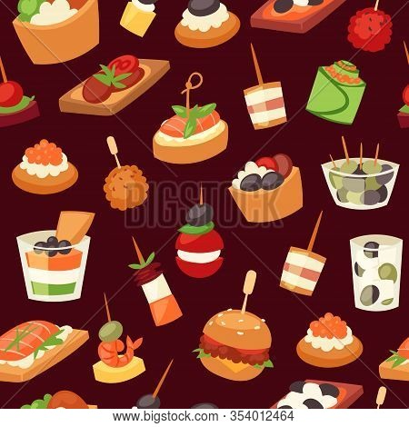 Canapes, Mini Burgers, Appetizer, Finger Food With Caviar, Olives And Green Vegetables Cartoon Seaml