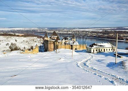 Picturesque Panoramic View Of Medieval Khotyn Fortress, Chernivtsi Region. Ukraine