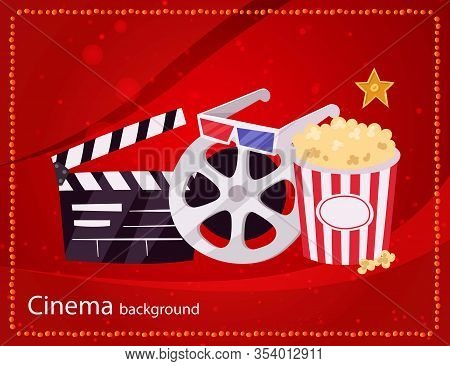 Cinema Movie And Popcorn Bowl, Film Bobbin And Video Attributes Retro Vector Illustration. Cinematog