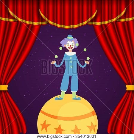 Clown In Circus, Juggler And Acrobat Show Actors Performance Cartoon Vector Illustration. Circus Clo