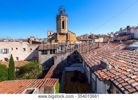 Aerial View Of Old Tiled Roofs And The Tower Of The Monastery. France. Aix-en-provence.