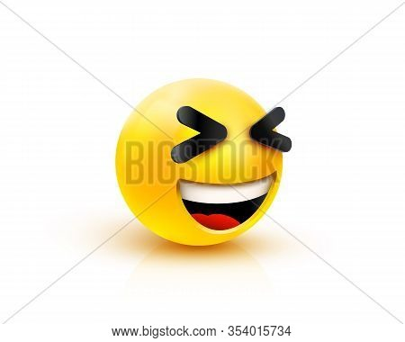 3d Smiling Ball Sign Emoticon Icon Design For Social Network. Grinning Emoticon. Emoji, Concept.