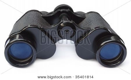 Binoculars over white background