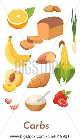 Carb Food Set. Vector Carbs Icons Collection. Diet, Delicious Meal From Carbohydrate Group.