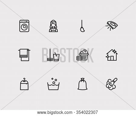 Hygiene Icons Set. Wash And Hygiene Icons With Cleaning Maid, Towel And Dust Cleaning. Set Of Helpin