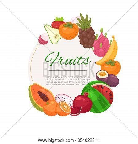 Tropical Fruits Circle Background Cartoon Vector Illustration. Organic Bananas, Graipefruit, Oranges