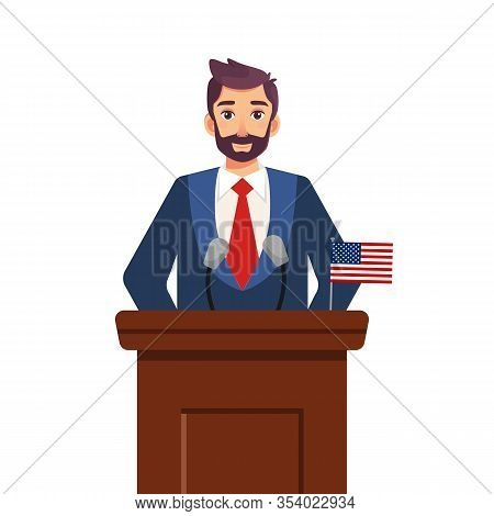 Presidential Candidate Speaks To People From Tribune Isolated On White Background. Politician Speak.