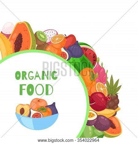 Organic Fruits Circle Background Cartoon Vector Illustration. Organic Bananas, Graipefruit, Oranges,