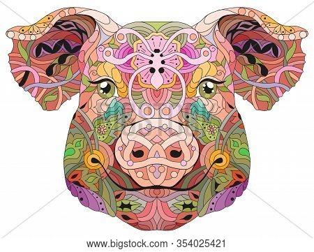 Zentangle Pig Head. Hand Drawn Decorative Vector Illustration