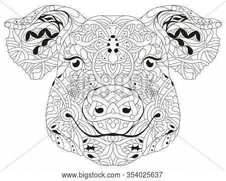 Zentangle Pig Head. Hand Drawn Decorative Vector Illustration For Coloring