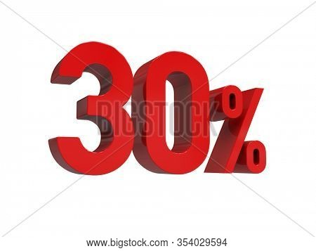 3d Render: ISOLATED Red 30% Percent Discount 3d Sign on Light Background, Special Offer 30% Discount Tag, Sale Up to 30 Percent Off, Thirty Percent Letters Sale Symbol, Special Offer Label