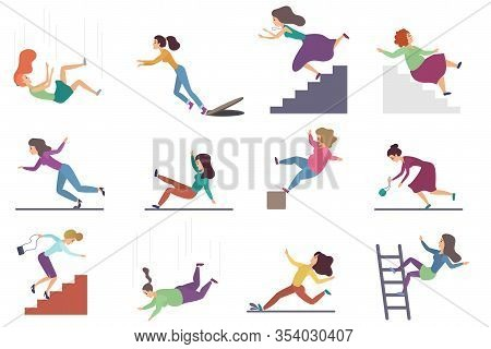 Set Of Flat Vector Injuring Female Woman Falling Down The Stairs And Over The Edge, Ladder, Drop Fro