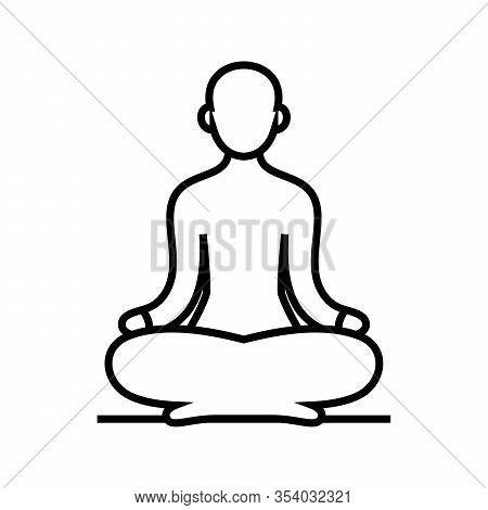 Yoga Meditation Line Icon, Concept Sign, Outline Vector Illustration, Linear Symbol.