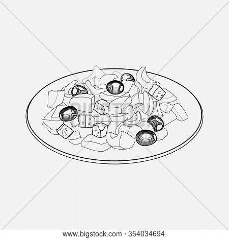 Greek Salad Icon Line Element. Vector Illustration Of Greek Salad Icon Line Isolated On Clean Backgr