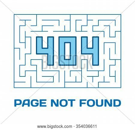404 Page Not Found With Labyrinth On White Background. Concept Internet Webpage Vector Illustration