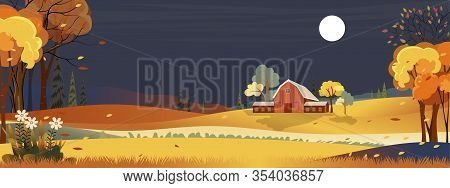Fantasy Panorama Landscapes Of Countryside In Autumn,panoramic Of Mid Autumn With Farm House  With F