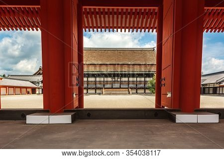 Kyoto, Japan, Asia - September 3, 2019 : The Shishinden Main Hall View Through The Jomeimon At The I