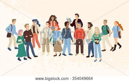 Multinational Group Of Young People With Books. Vector Illustration
