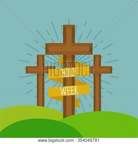 Holy Week Card With A Mount Calvary - Vector