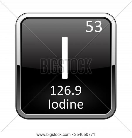 Iodine Symbol.chemical Element Of The Periodic Table On A Glossy Black Background In A Silver Frame.