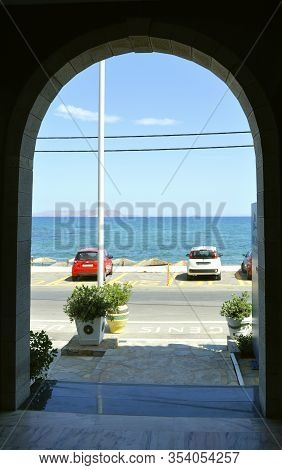 Kato Gouves, Crete, Greece - June 2, 2019 : Kato Gouves Hotel View In Crete The Largest And Most Pop