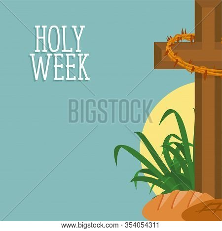 Holy Week Card With A Cross And Breads - Vector