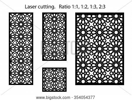 Jali Vector Design. Set Of Decorative Vector Panels For Laser Cutting. Template For Interior Partiti