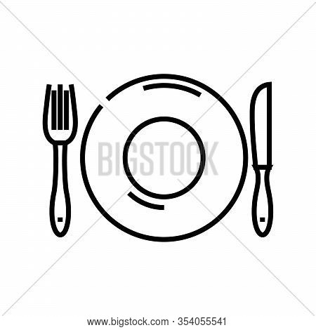 Table Ware Line Icon, Concept Sign, Outline Vector Illustration, Linear Symbol.