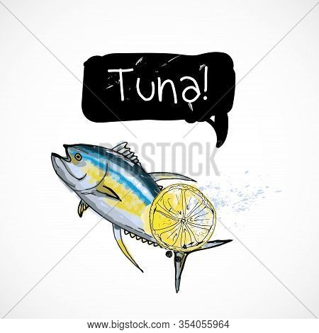 Tuna Seafood Taste For Packing Or Menu Watercolor Spray Seafood Poster On White Background