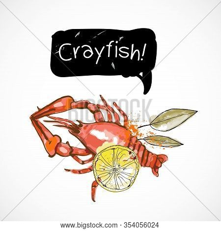 Crayfish Seafood Taste For Packing Or Menu Watercolor Spray Seafood Poster On White Background