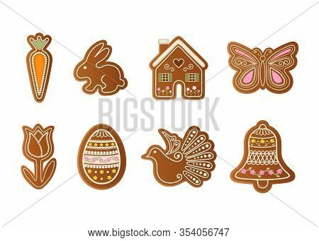 Set Easter Gingerbreads. Carrot, Rabbit, House, Butterfly, Tulip, Egg, Dove And Bell