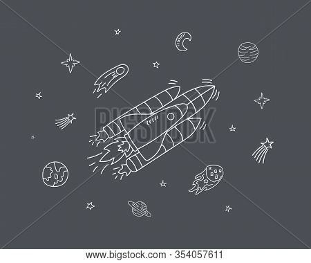 Cartoon Galaxy With Comets, Asteroids, Planets.space Elements Flying In Zero Gravity.astronomy. Spac