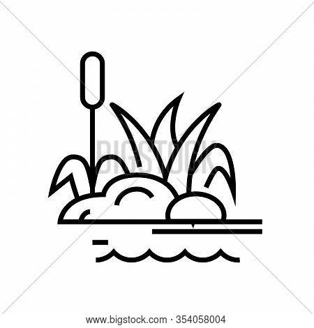 Swamp Plants Line Icon, Concept Sign, Outline Vector Illustration, Linear Symbol.