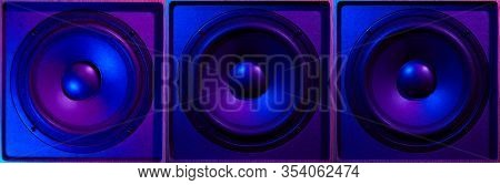 Retro Wave, 80s. Frontal Image Audio Three Speaker With Neon Light. Synthwave And Vaporwave Concept.