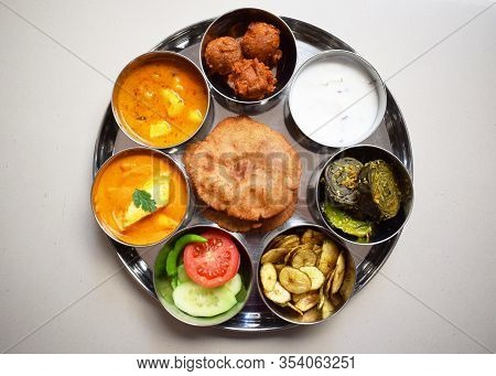 Indian Fasting Cuisine Upwas Items In Thali Complere Meal For Religious