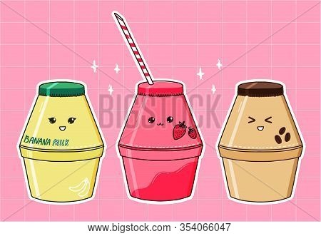 Banana Milk Bottle, Strawberry And Coffee Flavors. Popular Korean Drink, Kawaii Aesthetic. Set Of Th