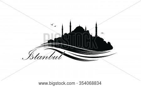 Istanbul City Skyline With Famous Turkish Travel Landmark. Tourist Icon Of Istanbul City. Cityscape
