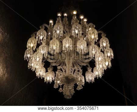 Splendid Candelabra With Multiple Branches, Interior Detail In Luxurious Historic Hall, Electric Lig