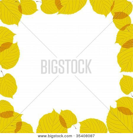 Autumn leaves frame on the white background