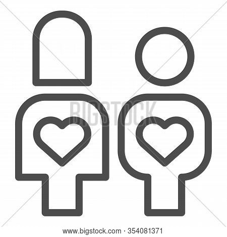 Couple In Love With Reciprocity Line Icon. Lovers With Heart In Their Bodies Symbol, Outline Style P