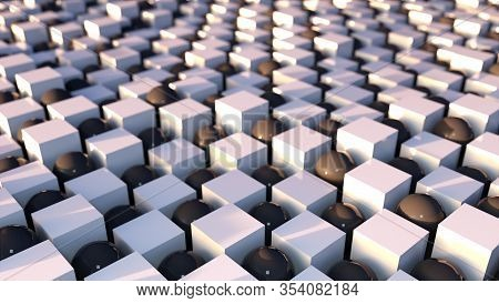 3d Rendering Abstract Background. Wavy Surface Of Cubes And Balls Arranged In A Checkerboard Design,