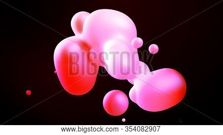 Spheres Or Balls Merge Like Liquid Wax Drops Or Metaballs In-air. Liquid Gradient Of Red Colors On B