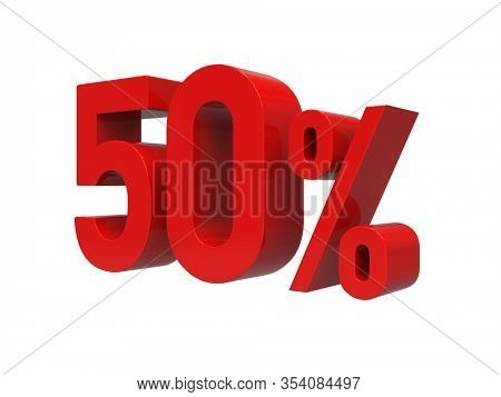 3d Render: ISOLATED Red 50% Percent Discount 3d Sign on Light Background, Special Offer 50% Discount Tag, Sale Up to 50 Percent Off, Fifty Percent Letters Sale Symbol, Special Offer Label