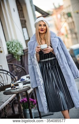 Successful Businesswoman Drink Coffee Outdoor. Autumn Female Outfit. Apparel For European Winter. El