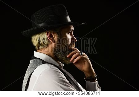 Brutal Bearded Hipster In Suit Vest. Mafia Gentlemen Club. Mature Cowboy. Detective Acknowledgement